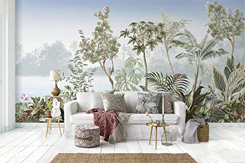 Murwall Forest Wallpaper Vintage Jungle Wall Mural Lake Landscape Wall Print Retro Home Decor Cafe Design