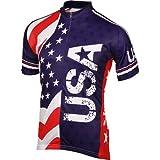 BDI Men's USA Cycling Jersey, Red/White/Blue, Large