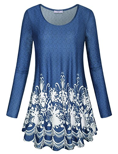 Cestyle Tunic Shirts for Women, Girls Floral Swing Mini Dress Scoop Neck Long Sleeve Blouse Basic Pleated Front Drape Leggings Tops Blue Medium -