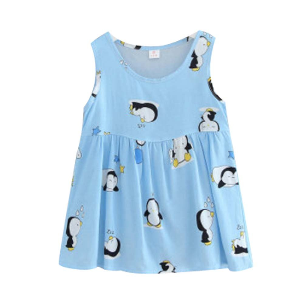 Koala Superstore [U] Kids' Pajama Home Nightdress Sleeveless Cotton Dress Vest Skirt for Girls