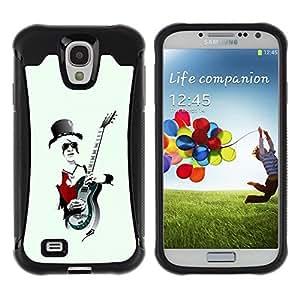 LASTONE PHONE CASE / Suave Silicona Caso Carcasa de Caucho Funda para Samsung Galaxy S4 I9500 / Music Rock Guitar Hat Art White Hair Man