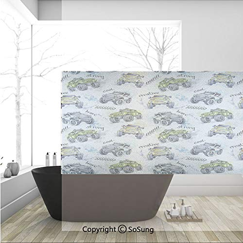 3D Decorative Privacy Window Films,Hand Drawn Watercolored Monster Trucks Enormous Wheels Off Road Lifestyle Decorative,No-Glue Self Static Cling Glass film for Home Bedroom Bathroom Kitchen Office 36 ()