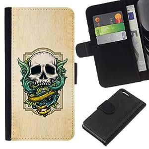 All Phone Most Case / Oferta Especial Cáscara Funda de cuero Monedero Cubierta de proteccion Caso / Wallet Case for Apple Iphone 5C // Wings Green Skull White Wood Texture