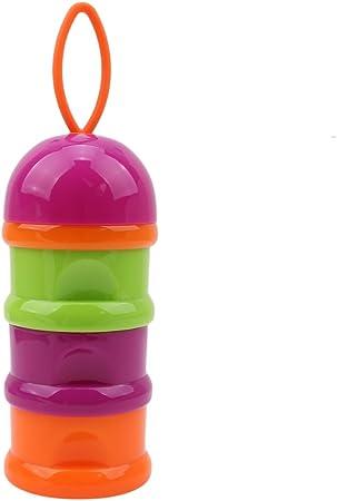 Orange Bo/îte Doseuse de Lait Distributeur De Lait de avec 4 Compartiments Bo/îte /à Snacks Poudre Bo/îte De Lait Portable pour B/éb/é