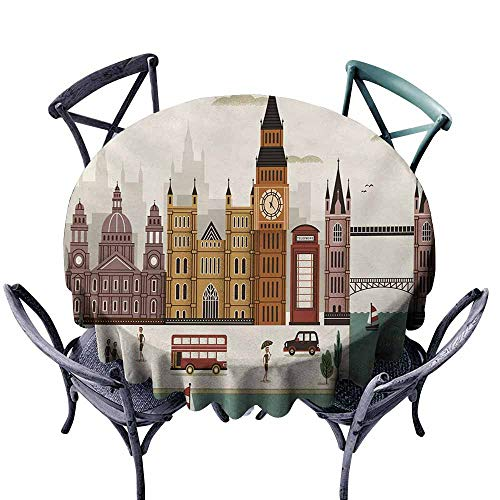 VIVIDX Custom Tablecloth,London,Attractive Travel Scenery Famous City England Big Ben Telephone Booth Westminster,for Banquet Decoration Dining Table Cover,35 INCH,Multicolor (Concord Telephone)