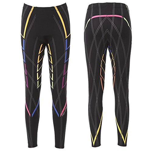 FREEZONE Men's Compression Wear Compression Tights FZ800M-LONG Power Support Light Tights (RAINBOW1) (S Size)