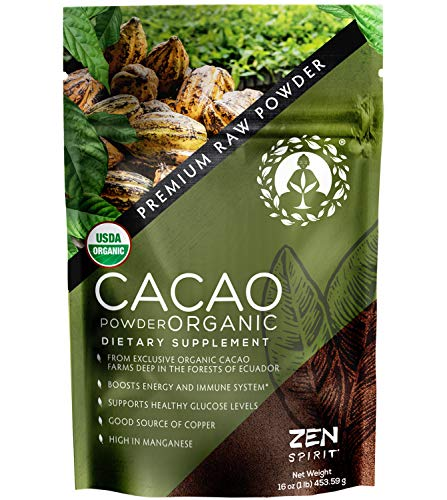 - Cacao Powder Organic - 1 Pound - Unsweetened Premium Grade Superfood (Raw) - USDA & Vegan Certified - Perfect for Keto, Breakfast, Hot Chocolate, Baking & Ice Cream.