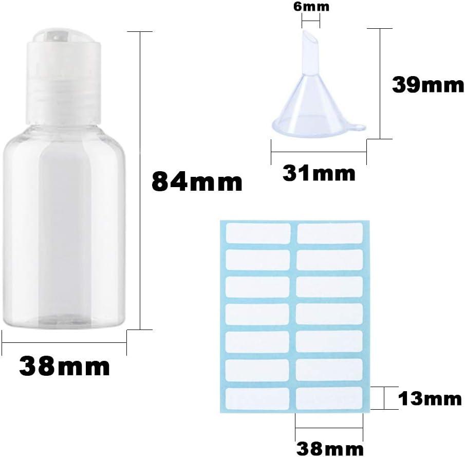 para muestras art/ículos de Aseo con 4 embudos peque/ños y 4 Hojas de Etiquetas 12 Botellas de pl/ástico Transparente de 50 ml Hnmedia Tapa Transparente