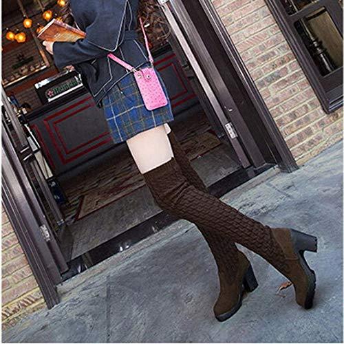 Viernes Negro JiaMeng Botas Mujer Ante Botas de Invierno Media Pierna Moda Tejer Sobre Botas de Rodilla Toe elástico Estiramiento Grueso Botas de tacón: ...