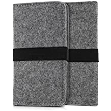 kwmobile wallet case felt cover for Smartphones with elastic band - flip cover felt case with card slot in black - e.g. compatible with Samsung, Apple, Wiko