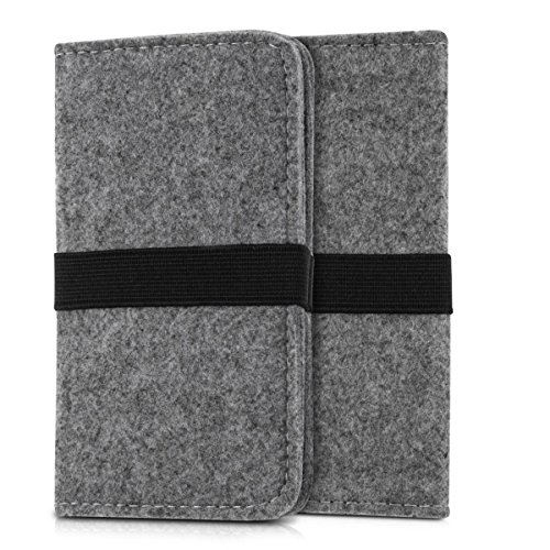 Cover Felt (kwmobile wallet case felt cover for Smartphones with elastic band - flip cover felt case with card slot in grey - e.g. compatible with Samsung, Apple, Wiko, Huawei)