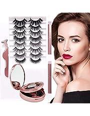 Magnetic Eyelashes ,No Glue Silk False Lashes,Waterproof Magnetic Eyeliner Kit and Mascara ,Eyelashes With Natural Look/(10 Pairs)