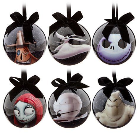 Disney Tim Burton's 2014 The Nightmare Before Christmas Decoupage Ornament Set~ Jack Skellington, Sally, Dr. Finkelsteinth, Zero, Oogie Boogie and Mayor ~ 6-Pc. -