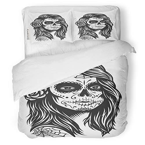 SanChic Duvet Cover Set Black and White Skull Girl Rose Decorative Bedding Set with 2 Pillow Cases King Size ()