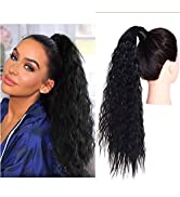 SARLA Long Black Ponytail Hair Extension Fluffy Curly Wavy 22 Inch Synthetic Wrap Around Clip in ...