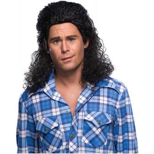 Rubie's Costume Humor Perm Mullet Long Wig, Black, One Size (Grunge Costume Halloween)