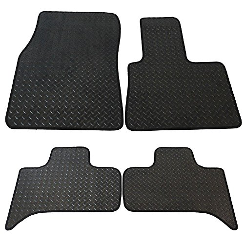 JVL Fully Tailored Rubber Car Mat Set with 2 Clips Black 4 Pieces