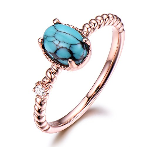 Black Blue Turquoise Engagement Ring 6x8mm Oval Cut Solitaire 925 Sterling Silver Rose Gold CZ Diamond by Milejewel Turquoise engagement rings