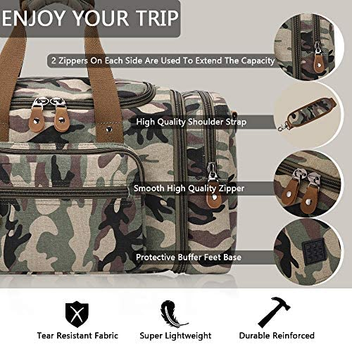 Plambag Canvas Duffle Bag for Travel, 60L Duffel Overnight Weekend Bag(Camouflage)