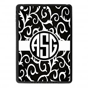 Classic Series Black and White Retro Pattern Circle Monogram Design Personalized Gift Cover Case For IPad air (Ipad 5)(Black) with Best Plastic ALL MY DREAMS