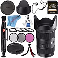 Sigma 18-35mm f/1.8 DC HSM Art Lens for Sony Alpha #210205 + Sony 128GB SDXC Card + Lens Pen Cleaner + Fibercloth + Lens Capkeeper + Deluxe Cleaning Kit + Flexible Tripod Bundle