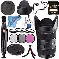 Sigma 18-35mm f/1.8 DC HSM Art Lens for Nikon F #210306 + 72mm 3 Piece Filter Kit + Sony 128GB SDXC Card + Lens Pen Cleaner + Fibercloth + Lens Capkeeper + Deluxe Cleaning Kit + Flexible Tripod Bundle