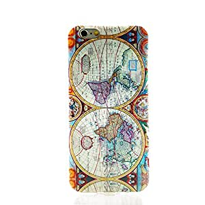 Soft Gel Silicon Case Heavy Duty Back Cover ultra Thin Blue Map for Iphone 6 4.7