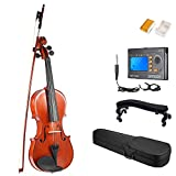 ammoon 4/4 Full Size Solid Wood Antique Violin Fiddle Gloss Finish Spruce Face Board with Hard Case Bow Rosin + Multifunctional 3-in-1 Digital Tuner Metronome Tone Generator + Violin Shoulder Rest