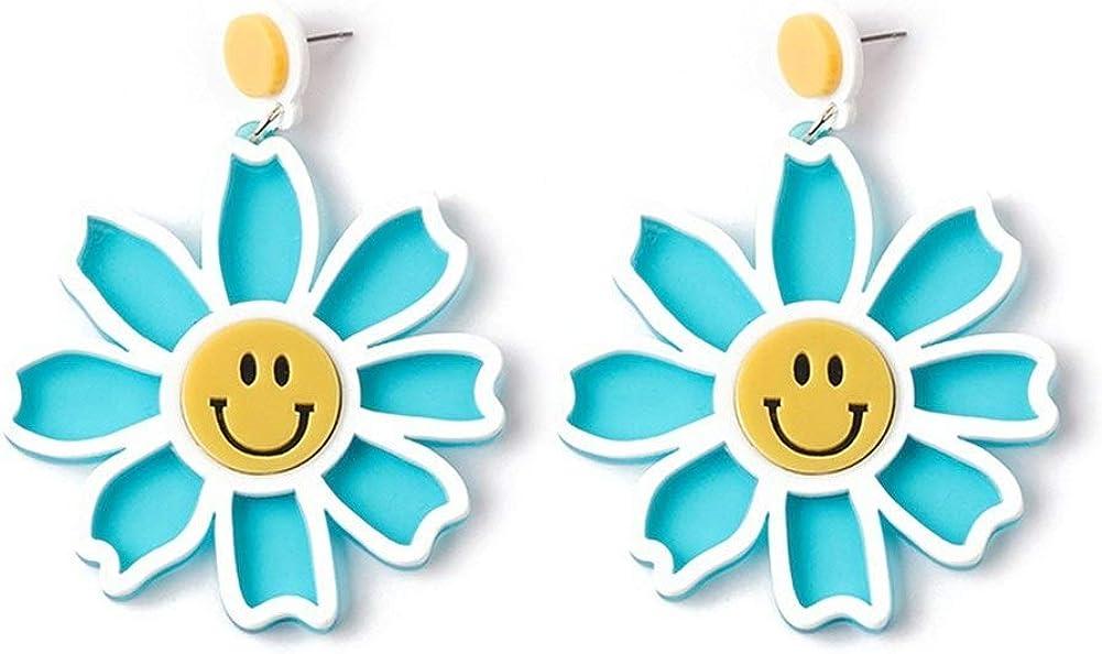 Pendientes Mujer Pendientes Ear Cuff Pendientes de flores sonrientes acrílicas