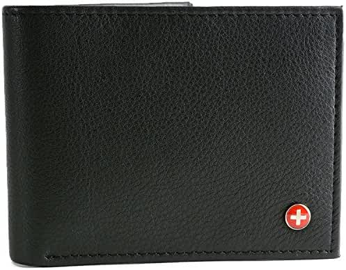 Alpine Swiss Men's Multi-Card Compact Center Flip Bifold Wallet