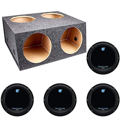 Q Power Quad 4 Hole 12 Inch Sealed Divided Speaker Box Subwoofer EnclosurePlanet Audio 12 Inch 1800W Car Audio Power Single Subwoofer DVC 4 Ohm | AC12D (4 Pack)