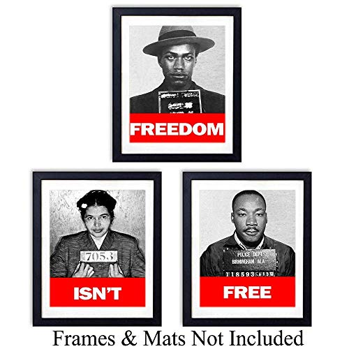- Black Leaders Wall Art Prints - Set of Three (8x10) Unframed Vintage Photos -Decor for Classrooms or Home - Great Gift for Black History Month - Martin Luther King, Malcom X and Rosa Parks - MLK