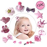 Little Angels Kids 13PC Hair Accessories Baby Toddlers Girls Hair Clips Bows Barrettes Hairpins Set (Pink)