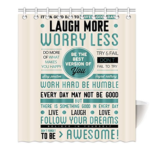 HommomH 65″ x 72″ Shower Curtain With Hooks Bathroom Anti-Bacterial Waterproof Awesome Quotes Happiness