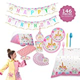 Toys : Unicorn Themed Party Supplies Set – Serves 16, 146 Pieces – Perfect For Girls Birthday and First Birthday – BONUS Happy Birthday Banner and Table Cloth – Party Plates,Cups and Napkins