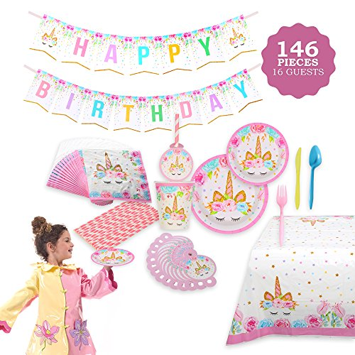 Unicorn Themed Party Supplies Set – Serves 16, 146 Pieces – Perfect For Girls Birthday and First Birthday – BONUS Happy Birthday Banner and Table Cloth – Party Plates,Cups and (Birthday Plates Napkins)
