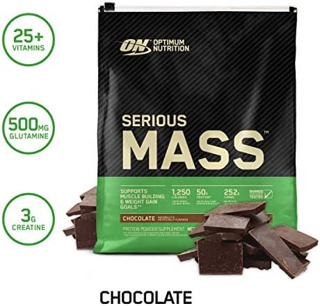 OPTIMUM NUTRITION Serious Mass Weight Gainer Protein Powder, Chocolate, 12 Pound (Packaging May Vary)