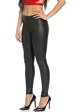 My Yuccie Women's Sexy PU Faux Leather Leggings at Amazon Women's ...