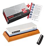 Premium 2-Sided Knife Sharpener Whetstone Grit 1000/6000 with non-slip Bamboo Base and Angle Guide by Grocery Art - Best Kitchen Knife Sharpening Stone for Chef, Kitchen, Pocket Knives and Scissors