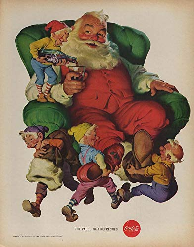 (The Pause That Refreshes - Santa Claus & the elves for Coca-Cola ad 1960 LK)