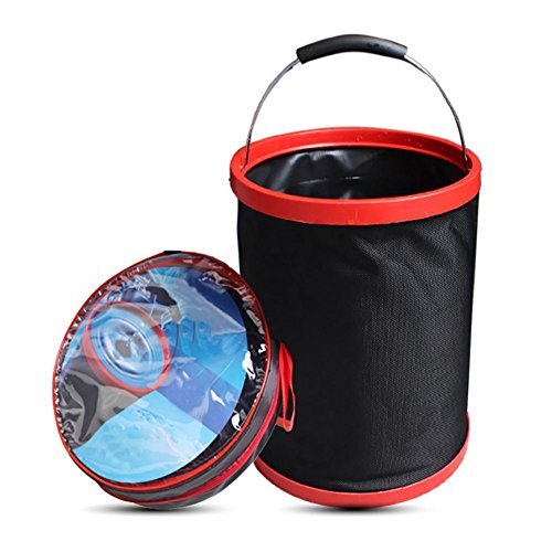 Collapsible Fishing Bucket with Handle Large Water Bag 12L 2000D Oxford Cloth Foldable Portable Travel Outdoor Washing up Basin for Hiking, Camping, Fishing, Car Washing, Flower Watering, Gardening by iBaste_S (Image #1)