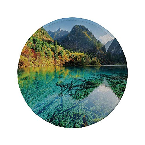 Non-Slip Rubber Round Mouse Pad,Nature,Idyllic Mountain Creek Crystal Water Forest Pastoral Rural Landscape,Teal Fern Green Marigold,11.8