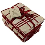 Tea Towels Egyptian Cotton Kitchen Dish Cloths Set Terry Large Cleaning Stripe Towels , Red by De Lavish