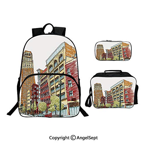Backpack With Lunch Bag Pencil Bag Three-piece,Buildings on Woodward Avenue in Downtown Detroit Artistic Sketchy Urban Scene Multicolor,For Girls Water Resistant Colorful Christmas Gifts