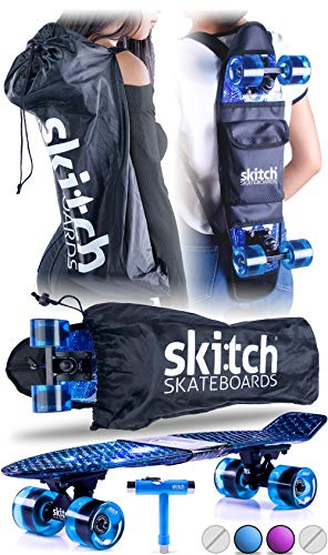 Skitch Complete Skateboards Gift Set for Beginners Boys and Girls of All Ages with 22 Inch Mini Cruiser Board + Skateboard Backpack + Skate Tool + Tote Bag (Blue Galaxy) (Penny Board Blue And Black)