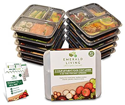 |10 pack| Meal prep food containers. Bento box set with lids. Stackable, reusable & BPA free plastic food / lunch box containers with dividers + EBook