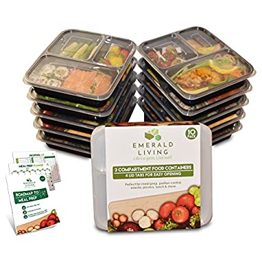 |10 pack| 3 Compartment Meal Prep Food Containers Bento Box Set with Lids. Dishwasher, Microwave & Freezer Safe. Stackable, Reusable & BPA Free Plastic Food Storage / Lunch Box Containers + EBook