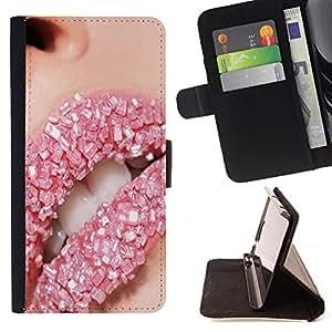 - Lips Bling funny Art - - Monedero PU titular de la tarjeta de cr?dito de cuero cubierta de la caja de la bolsa FOR Samsung Galaxy S5 V SM-G900 Retro Candy