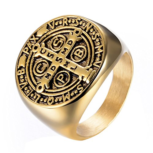 Rinspyre Men's Stainless Steel Exorcism St Benedict Ring Demon Protection Ghost Hunter CSBP Gold Tone Size 11 -