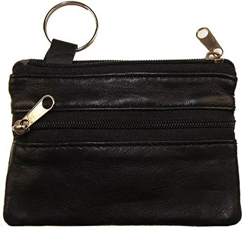 Improving Lifestyles Leather Coin Two (2) Zipper Small Pouch Black with Organza Bag SUN180BK